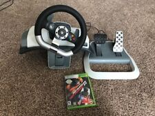 Microsoft Xbox 360 Wireless Racing Wheel with Pedals + Table Mount + Game!
