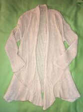 SZ M Eileen Fisher Airy Linen Mohair Cable Mix Cascading Cardigan $448