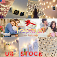 20-100LED Hanging Picture Photo Peg Clip Fairy String Lights Wedding Window Deco