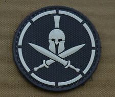 """PVC / Rubber Patch """"Spartan Roger"""" Black with VELCRO® brand hook"""