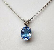 Genuine Swiss blue topaz pendant 2.02 ct sterling silver hand made