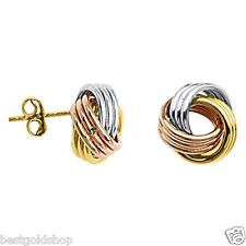 All Shiny Triple Wire Love Knot Stud Earrings Earrings Real 10K Tri-Color Gold