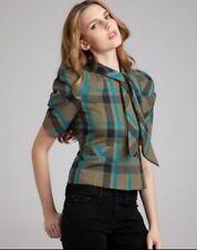 Marc Marc Jacobs Brodie Silk Wool Olive Plaid Puff Sleeve Tie Neck Top Jacket 8