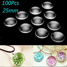 25MM 100Pcs Transparent Clear Round Flatback Domed Glass Cabochon Cover Finding