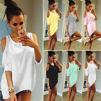 Womens Ladies Cold Shoulder Plain T Shirt Loose Tee Top Blouse Mini Dress Summer