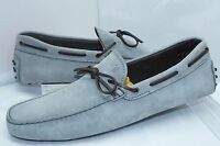 Tod's Men's Gray Shoes Lace Mocassin Loafers Drivers Size 11.5 Suede Slip NIB