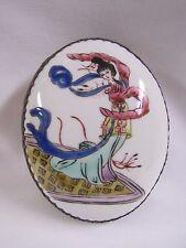Japanese Woman Box Porcelain Painted Metal Oval Decorative Trinket Box Vintage