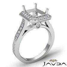 18k White Gold Diamond Engagement Emerald Semi Mount Halo Bezel Set 0.7Ct Ring