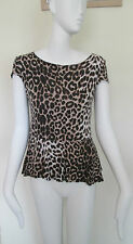 NEW LOOK - ANIMAL PRINT SHORT SLEEVED PEPLUM TOP SIZE 10 - VISCOSE BLEND