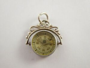 LOVELY VINTAGE SOLID STERLING SILVER ALBERT POCKET WATCH CHAIN COMPASS FOB 1962