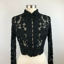 Cache Vintage Soutache Beaded Black Buttoned Top S