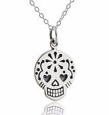 Sugar Skull Necklace - 925 Sterling Silver - Day of the Dead Dia de Los Muertos