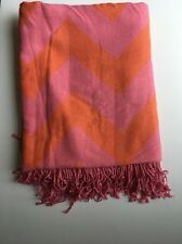 NEW Pottery Barn Teen Knit Fringed Chevron Throw Blanket Pink Orange Coral