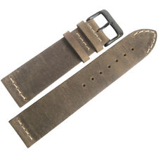 20mm ColaReb Venezia Mens SHORT Mud Brown Leather PVD Buckle Watch Band Strap