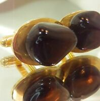 Vintage 1970's  Very Nice Classic Gold Tone Rock Stone Oval Cuff Links 899d9