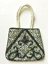 Vintage Beaded Evening Handbag Cocktail Party Purse Cloth Handles Hidden Strap
