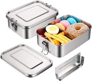 1400ML Edelstahl Brotdose Auslaufsicher &dicht Lunchbox mit Fächern Vesperdose