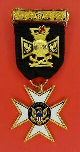 KNIGHTS TEMPLAR ORDER OF MALTA W TOP BAR & SKULL  (KT OM-1BRS)