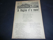 1922 PIEDIGROTTA NAPOLI CANZONE 'A REGINA D''O MARE! AUTORE ARMANDO GILL