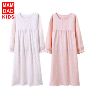 Girls Kids Cotton Pyjamas Long Sleeve Nightdress Night Dress Princess Sleepwear