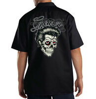 Dickies Mechanic Work Shirt Greaser Rock & Roll Sugar Skull Day Of The Dead