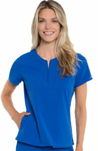 """Med Couture Style 8407 Zip Round Neck Scrub Top in """"Royal"""" Size XL"""