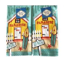 Dish Towels Set of 2 Paradise Surf Beach House Theme 100% Cotton Dish Towel New