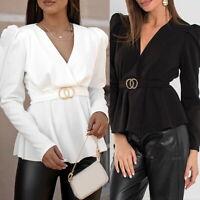 Women's Long Puff Sleeve T-shirt V-neck Ruffled Tee Tops OL Casual Tunic Blouse