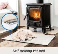 Self Heated Thermo Cushioned Pet Bed Fleece Heat Pad Large 90 x 64cm
