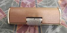 Vintage GOLD CLUTCH PURSE Metallic Cylinder Make-Up Evening Bag HANDBAG PreOwned