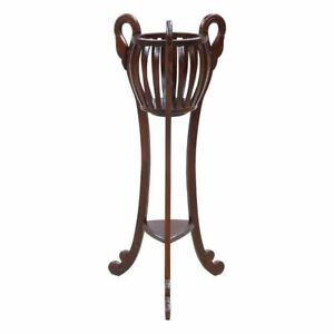 Solid Mahogany Wood Plant / Flower Stand Antique Reproduction Style Hand Craved