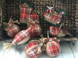 8 PCS Plaid Christmas Tree Ornaments Set /Handmade Xmas Farmhouse Decoration