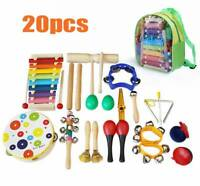 20pcs en bois enfants bébé instruments de musique mis jouets enfants en bas âge