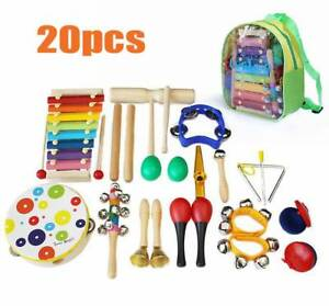 20X Wooden Kids Musical Instruments Set Toys Music Percussion Christmas Gift`