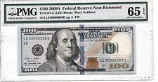 $100 FR 2187-E 2009A FRN RICHMOND LOW/FANCY NUMBER LE00000088D PMG 65EPQ