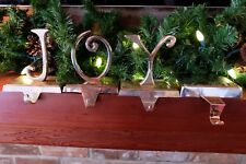 Pottery Barn JOY Christmas Stocking Holder Hanger Silver Plated  J O Y
