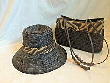 Magid Womens Black Shoulder Purse Straw Tote and Matching NWT Straw Hat