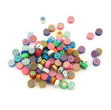 100X Mixed round flower Fimo Polymer Clay Spacer Loose Beads 8*4MM