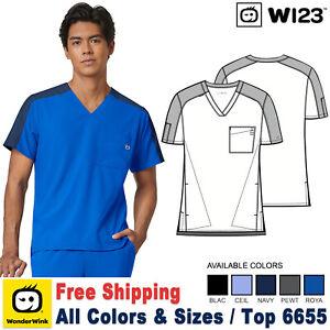 WonderWink Scrubs W123 Men's Modern Fit Contrast Sleeve Color block Top