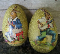 RARE ANTIQUE GERMAN PAPER MACHE EASTER EGG Jazz Music Rabbits CANDY CONTAINER