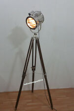 Vintage Spotlight Wood Tripod Stand Lobby Searchlight  Home Decor Lamp
