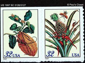 US 1997 SC 3126/3127 SENTIENT PAIR 32¢ MERIAN BOTANICAL PRTS MNH S-ADH F/VF