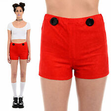 Vintage 60s 70s Red Velvety High-Waist Hot Pants Shorts Mod Go-Go Twiggy Disco S