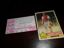 Autographed 1976 Topps Signed Johnny Bench Cincinnati Reds #300 & Ticket 1983