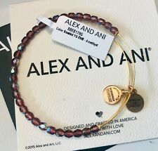 Nwt Rtl $38 Rare Hard To Find Alex And Ani Beaded Amethyst Gold Bangle Bracelet