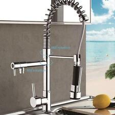 Pull Down Kitchen Mixer Tap Swivel Spout Dual Sprayer Chrome Faucet Sink