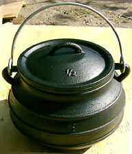 2QT Cast iron Bean pot Flat bottom Potjie Camping Survival Cookware
