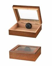 20 Cigar Travel Humidor with Humidifier Glass Top Light Walnut  Finish TR20G-W