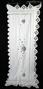 """RARE ANTIQUE EARLY 20TH CENTURY HAND EMBROIDERED TABLE RUNNER 80""""L X 31"""" W"""