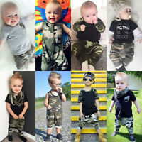 Camouflage Toddler Infant Baby Boy Romper Tops Pants Outfits Set Clothes